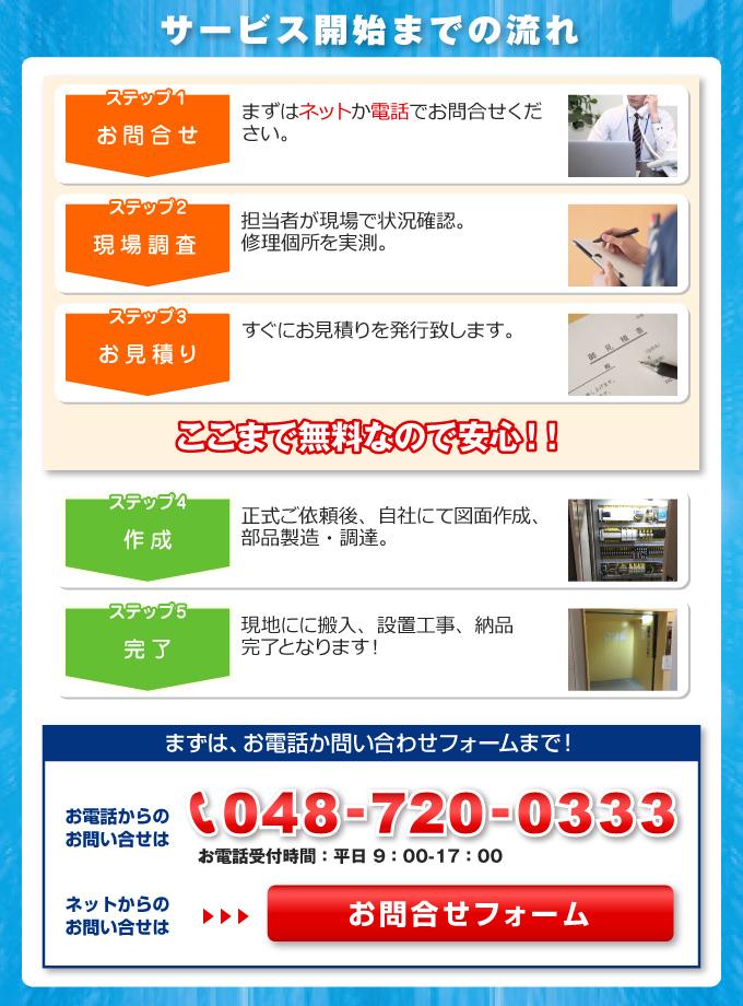 エレベーターの修理、リニューアル、新規設置等のサービス開始までの流れ