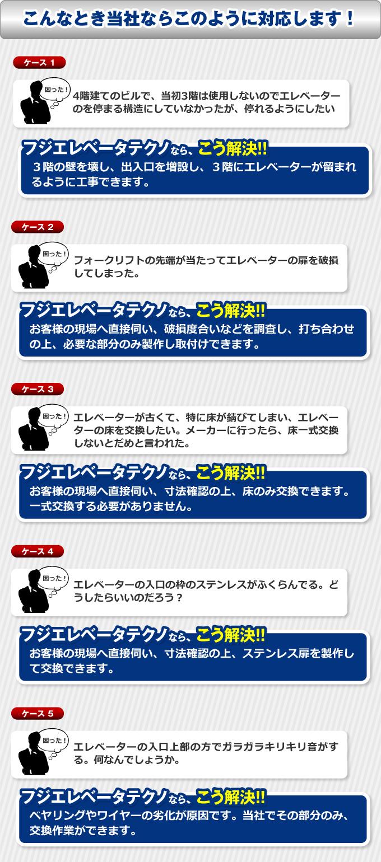 富士エレベータテクノのケース別対応例